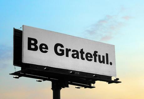 "Billboard that says ""Be Grateful"""