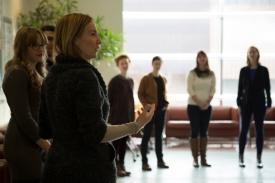 Jennifer Kayle leads an exercise on group dynamics.