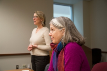 Obermann Center Director Teresa Mangum visits the Institute.